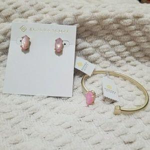 NWT Kendra Scott Earring and Bracelet Set Pink